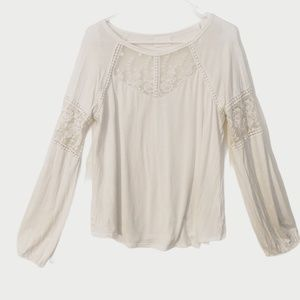 4/$25 Allie Rose White Lace Detail Knit Top